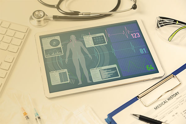 tablet device with health stats displayed on screen
