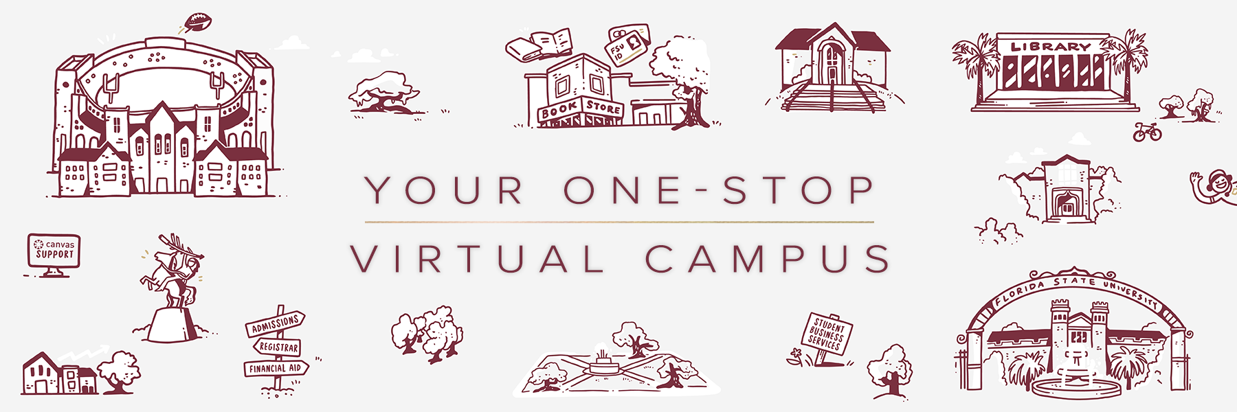 """Image with text: Your One-Stop Virtual Campus"""